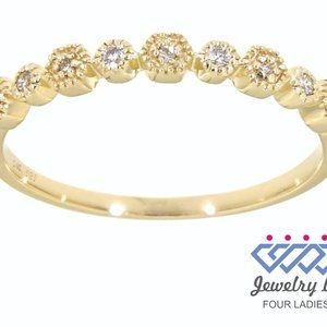 Natural Diamond Stackable Band Jewelry Yellow Gold